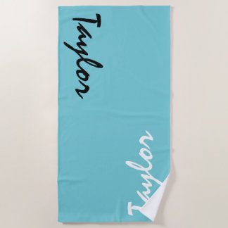 Blue Teal Custom Name Personalized Beach Towel
