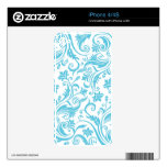 Blue Teal Damask Skins For iPhone 4S