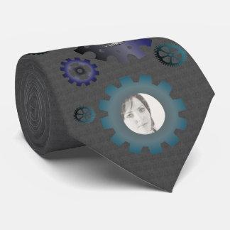 Blue & Teal Gears on Granite Photo Tie