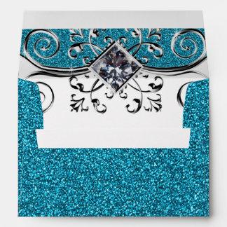 Blue Teal Glitter and Silver Bling Envelope