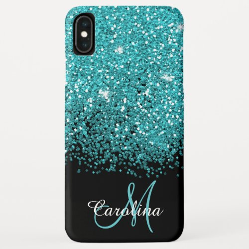Blue, Teal, Glitter, Name and Monogram, Girly iPhone XS Max Case