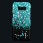 """Blue, Teal, Glitter, Name and Monogram, Girly Case-Mate Samsung Galaxy S8 Case<br><div class=""""desc"""">Blue,  teal glitter,  personalized with your name and monogram.  Mobile phone case.</div>"""