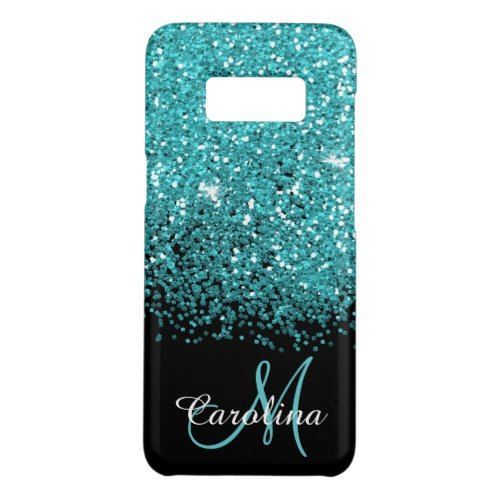 Blue, Teal, Glitter, Name and Monogram, Girly Phone Case