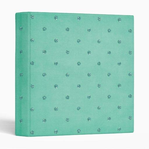 blue teal glitter polka dots 1 inch 3 ring binder
