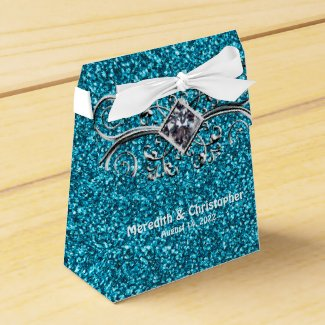 Blue Teal Glitter Silver Bling Wedding Favor Box
