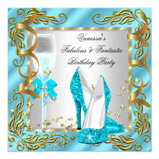 Blue Teal Gold Silver Women's Birthday Party Card