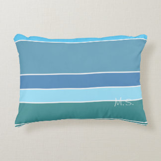 Blue Teal Green Stripes Decorative Pillow