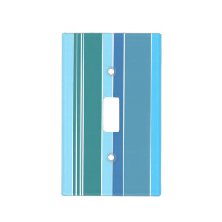 Blue Teal Green Stripes Light Switch Cover