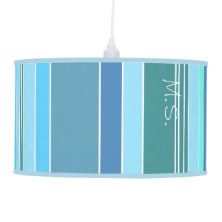 Blue Teal Green Stripes Pendant Lamp
