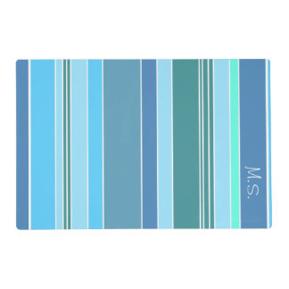 Blue Teal Green Stripes Placemat