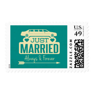 Blue Teal Just Married Wedding Announcement Limo Postage