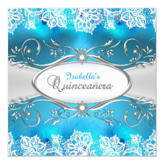 Blue Teal lace & silver Frame Quinceanera 13 Cm X 13 Cm Square Invitation Card