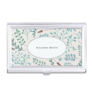Professional Business Blue Teal Leaves / Greenery on White Business... Business Card Holder