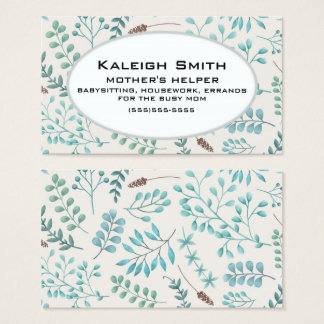 Blue Teal Leaves / Greenery White Mother's Helper Business Card