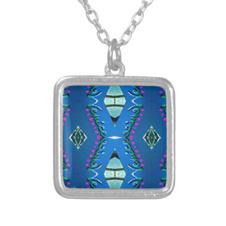 Blue Teal Magenta 'Venice' Tribal Pattern Silver Plated Necklace