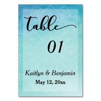 Blue/Teal Mandala Watercolor Wedding Table Number