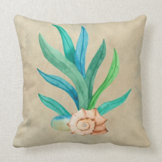Blue Teal Marine Plant and Shell Taupe Throw Pillow