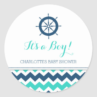 Blue Teal Nautical Baby Shower Favor Stickers