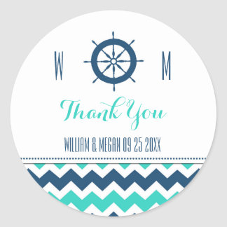 Blue Teal Nautical Thank You Wedding Favor Tags Classic Round Sticker