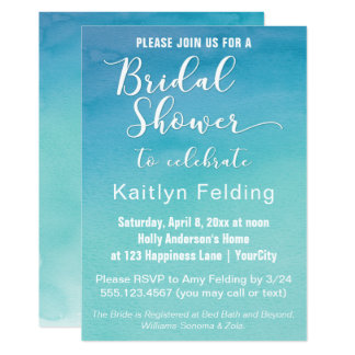 Blue & Teal Ombre Watercolor Bridal Shower Invite