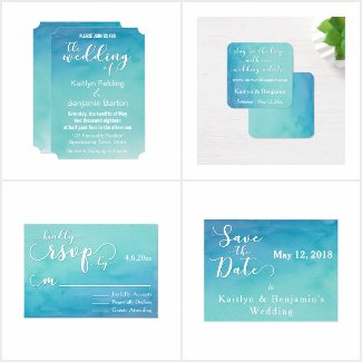 Blue & Teal Ombre Watercolor Wedding and Event Set