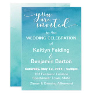 Blue & Teal Ombre Watercolor Wedding Invitation 3b