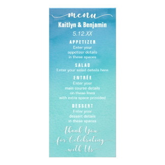 Blue & Teal Ombre Watercolor Wedding Menu Card
