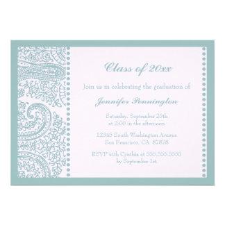 Blue teal paisley graduation party announcement