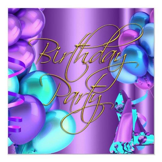 blue teal Purple Gold High Heel Shoes Birthday Card