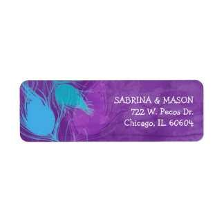 Blue, Teal, Purple Peacock Wedding Address Labels