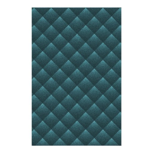 Blue Teal Quilted. Elegant Fashion Fabric Pattern Customized Stationery