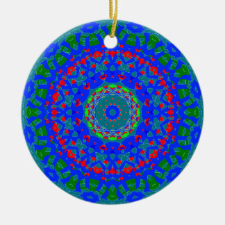 Blue Teal Red Double-Sided Mandala Ornament