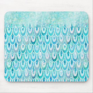 Blue Teal Shiny Mermaid Scales Fish Scales Mouse Pad