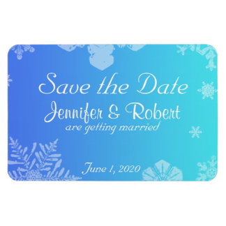 Blue Teal Snowflake Posh Wedding Save the Date Rectangular Photo Magnet