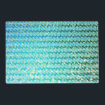 """Blue Teal Sparkle Ocean Mermaid Waves Pattern Placemat<br><div class=""""desc"""">A wonderful glitter pattern,  showing sparkling ocean waves in aqua and teal colors. Made with lot fun and love by UtART.</div>"""