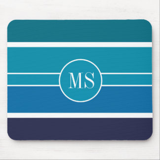Blue Teal Stripes Monogram Pattern Mouse Pad