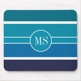 Blue Teal Stripes Monogram Pattern Mousepads