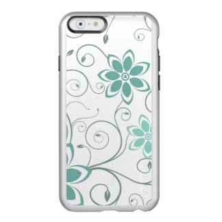 Blue Teal Swirling Flowers Incipio Feather® Shine iPhone 6 Case