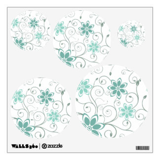 Blue Teal Swirling Flowers Wall Sticker