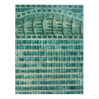 blue teal tiles postcard