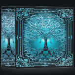 """Blue Teal Tree of Life Ancient Rustic Inner Light 3 Ring Binder<br><div class=""""desc"""">A beautiful ornate design with a blue tree of life with an ornate frame and a heart at the roots.  There is a night sky background.</div>"""