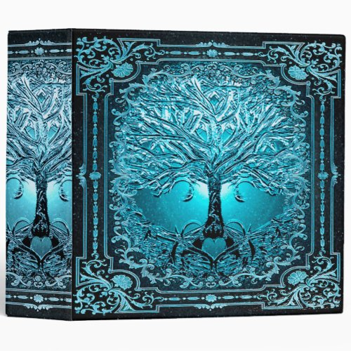 Blue Teal Tree of Life Ancient Rustic Inner Light 3 Ring Binder
