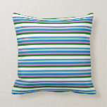 [ Thumbnail: Blue, Teal, Violet, Dark Green, and White Colored Throw Pillow ]