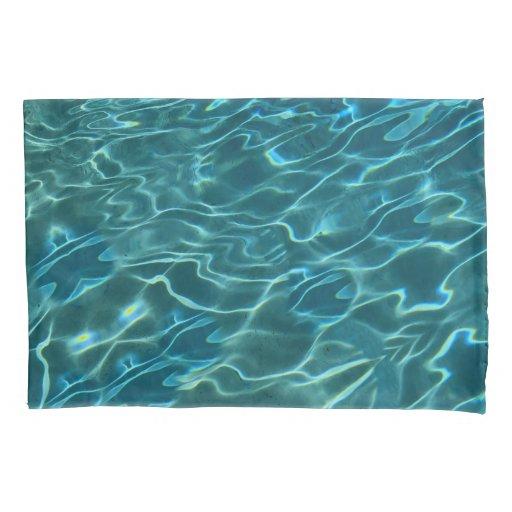 Blue teal water wave ocean pattern pillow case