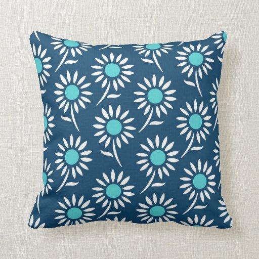 Blue Teal White Floral Decorative Pillow Zazzle