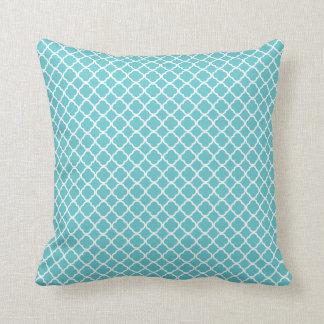 Blue Teal White Moroccan Lattice Pillow