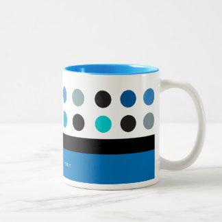 Blue, Teal & white polka dots Modern Design Two-Tone Coffee Mug