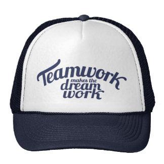 Blue teamwork makes the dream work slogan hat