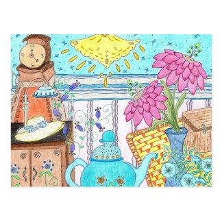Blue Teapot Crayon Art by Nana B. Postcard