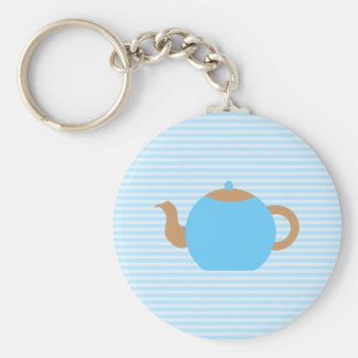 Blue Teapot picture on Blue Stripes. Keychain